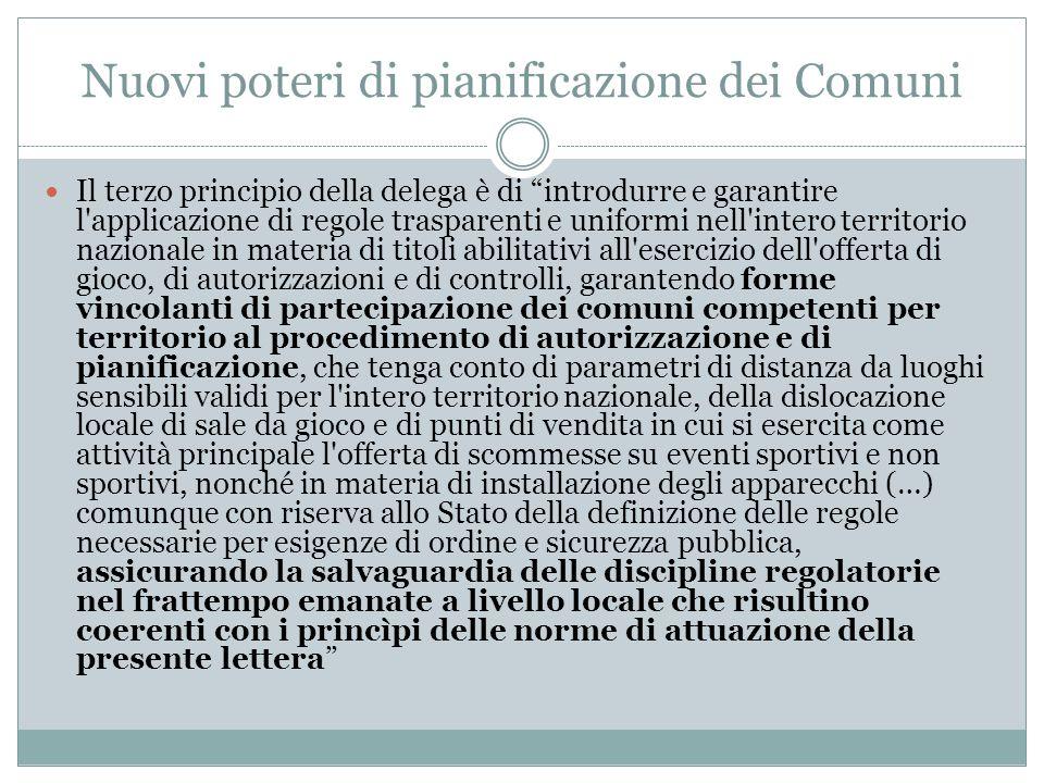 Nuovi poteri di pianificazione dei Comuni Il terzo principio della delega è di introdurre e garantire l'applicazione di regole trasparenti e uniformi