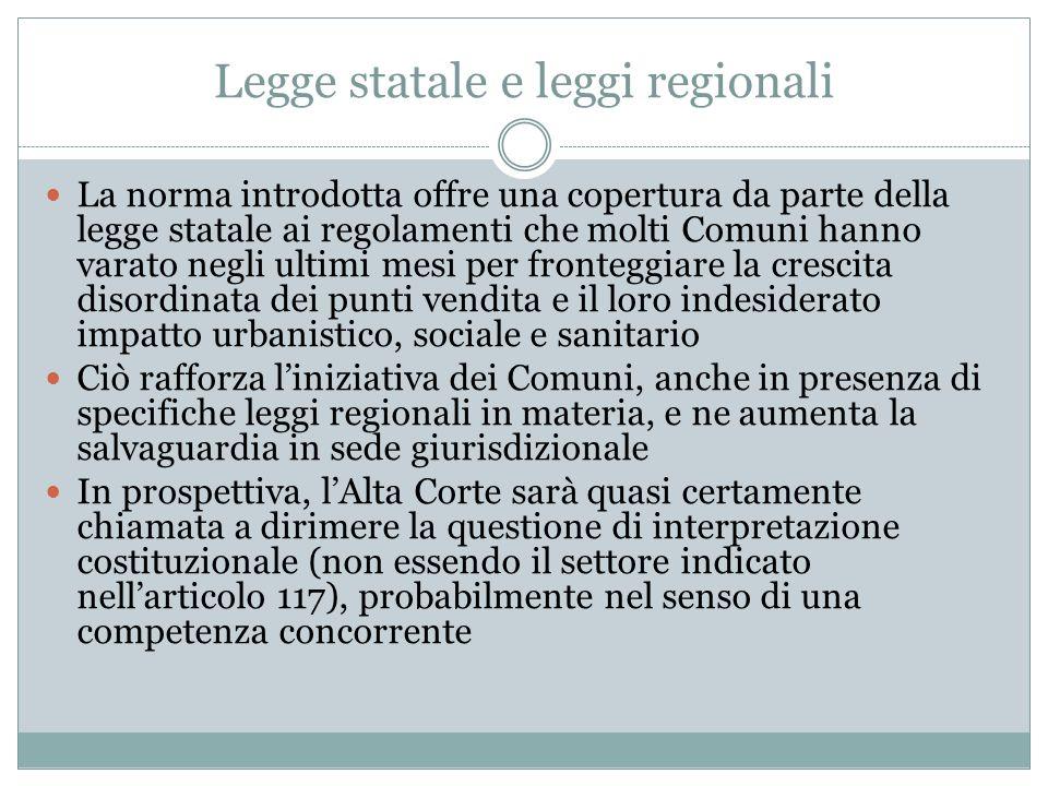 Legge statale e leggi regionali La norma introdotta offre una copertura da parte della legge statale ai regolamenti che molti Comuni hanno varato negl