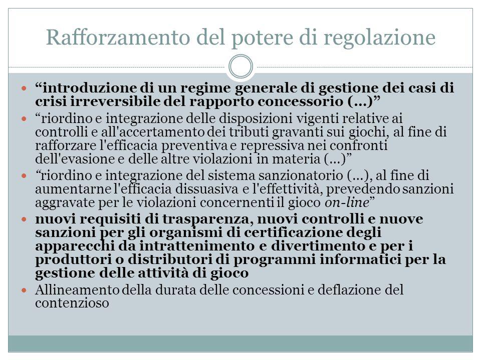 Rafforzamento del potere di regolazione introduzione di un regime generale di gestione dei casi di crisi irreversibile del rapporto concessorio (…) ri