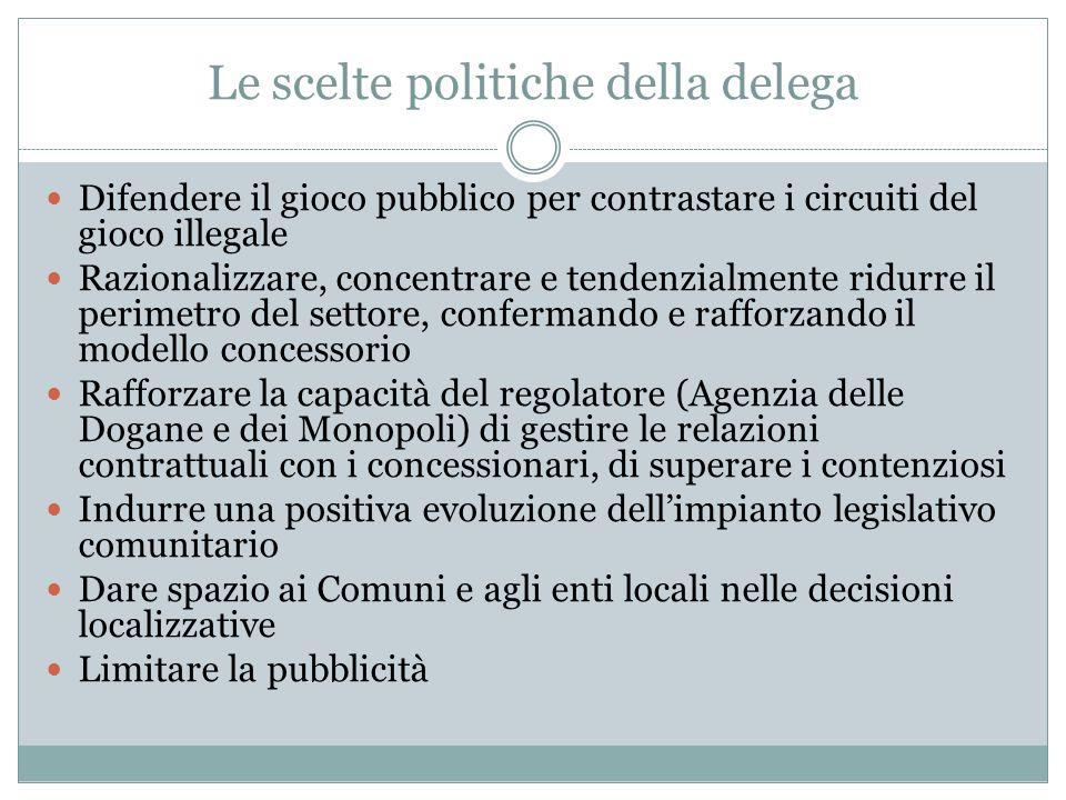 Le scelte politiche della delega Difendere il gioco pubblico per contrastare i circuiti del gioco illegale Razionalizzare, concentrare e tendenzialmen