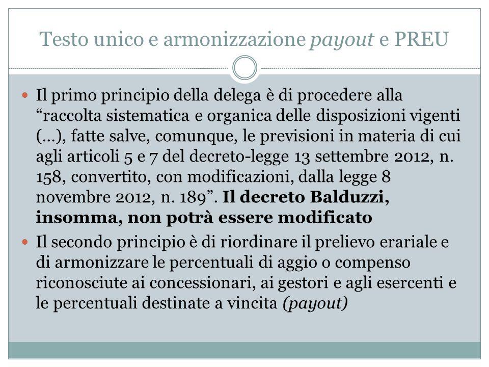 Testo unico e armonizzazione payout e PREU Il primo principio della delega è di procedere alla raccolta sistematica e organica delle disposizioni vigenti (…), fatte salve, comunque, le previsioni in materia di cui agli articoli 5 e 7 del decreto-legge 13 settembre 2012, n.