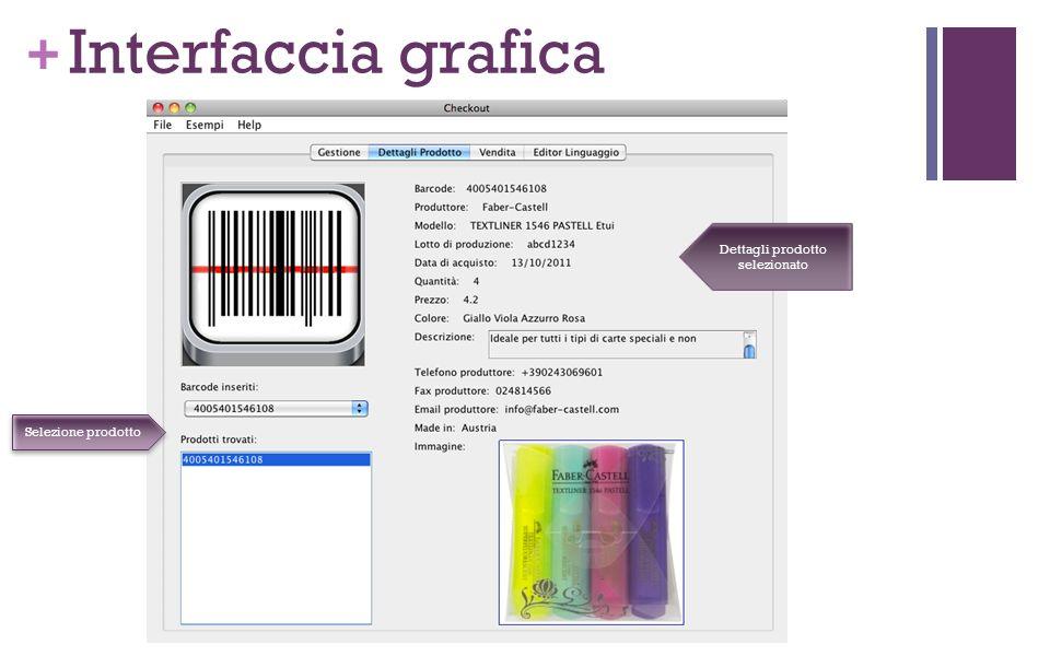 + Interfaccia grafica Dettagli prodotto selezionato Selezione prodotto