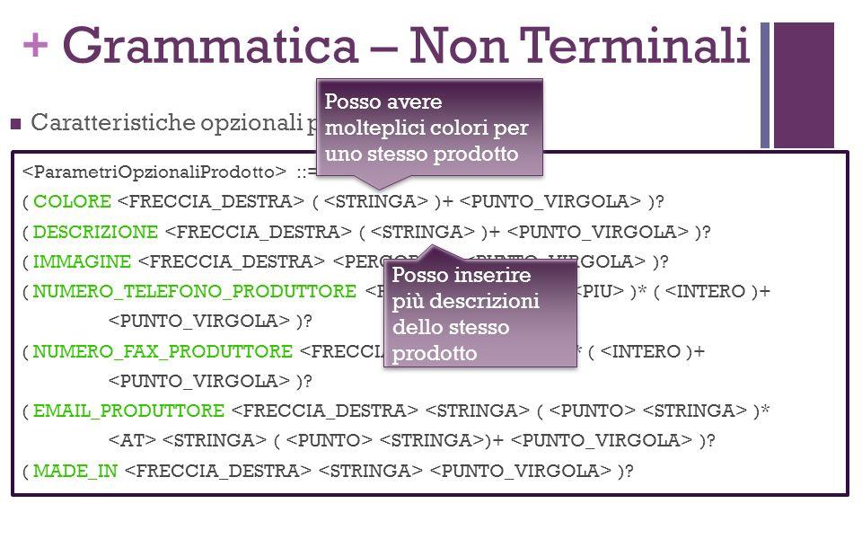 + Grammatica – Non Terminali Caratteristiche opzionali per un prodotto: ::= ( COLORE ( )+ ).
