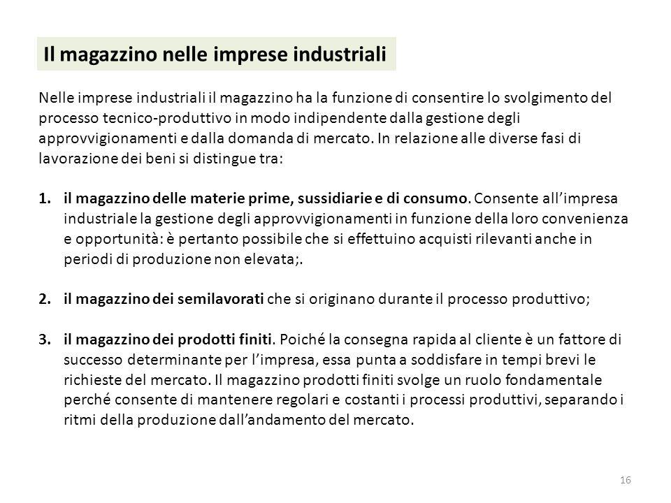 16 Il magazzino nelle imprese industriali Nelle imprese industriali il magazzino ha la funzione di consentire lo svolgimento del processo tecnico-prod