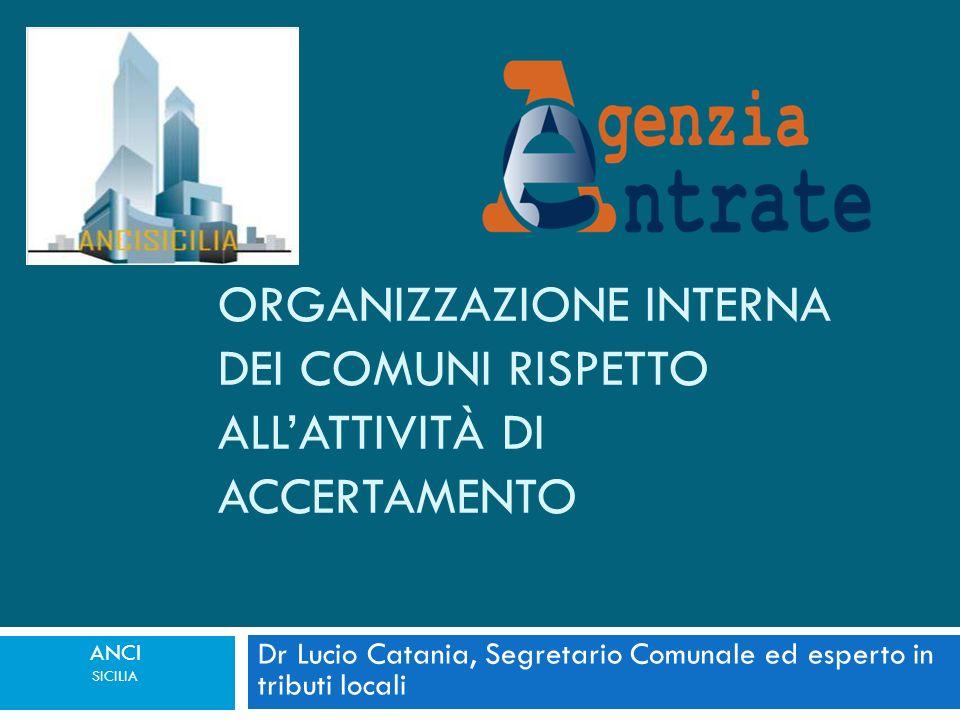 Dr Lucio Catania, Segretario Comunale ed esperto in tributi locali ANCI SICILIA ORGANIZZAZIONE INTERNA DEI COMUNI RISPETTO ALLATTIVITÀ DI ACCERTAMENTO