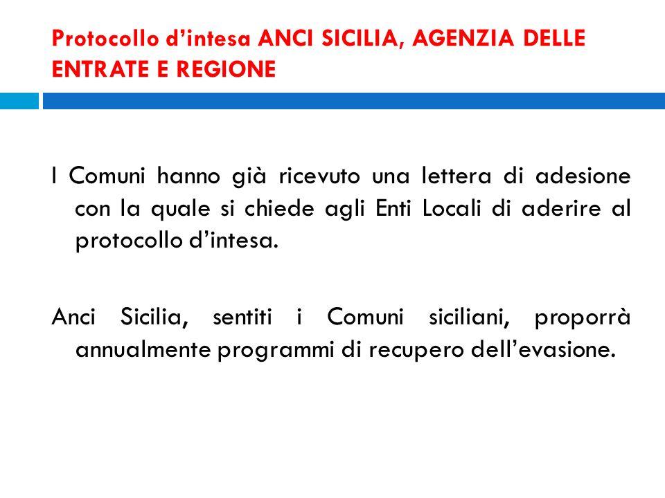 Protocollo dintesa ANCI SICILIA, AGENZIA DELLE ENTRATE E REGIONE I Comuni hanno già ricevuto una lettera di adesione con la quale si chiede agli Enti