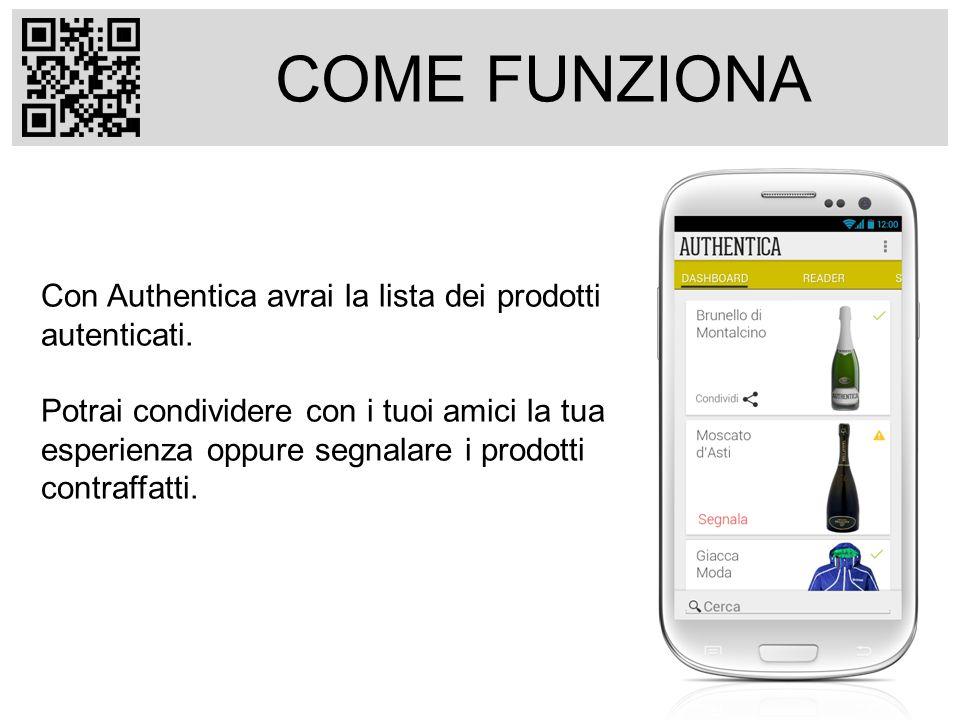 COME FUNZIONA Con Authentica avrai la lista dei prodotti autenticati.