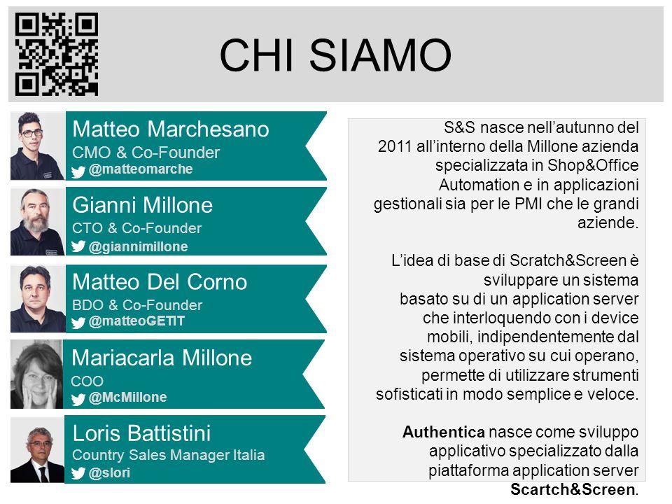 CHI SIAMO Matteo Del Corno BDO & Co-Founder @matteoGETIT Matteo Marchesano CMO & Co-Founder @matteomarche Gianni Millone CTO & Co-Founder @giannimillo
