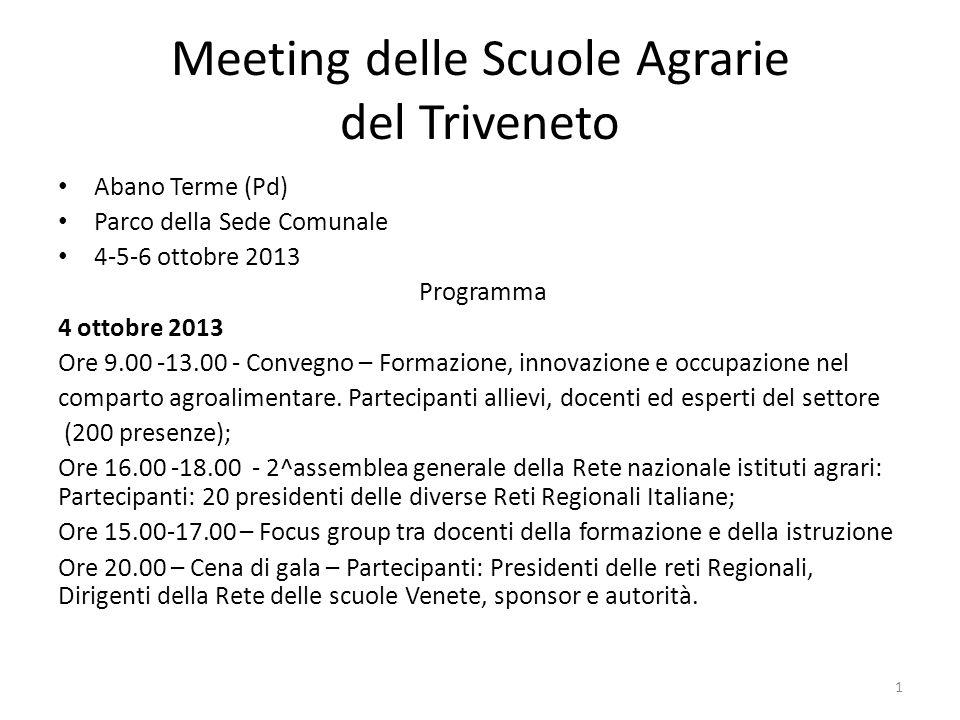 Meeting delle Scuole Agrarie del Triveneto Abano Terme (Pd) Parco della Sede Comunale 4-5-6 ottobre 2013 Programma 4 ottobre 2013 Ore 9.00 -13.00 - Co