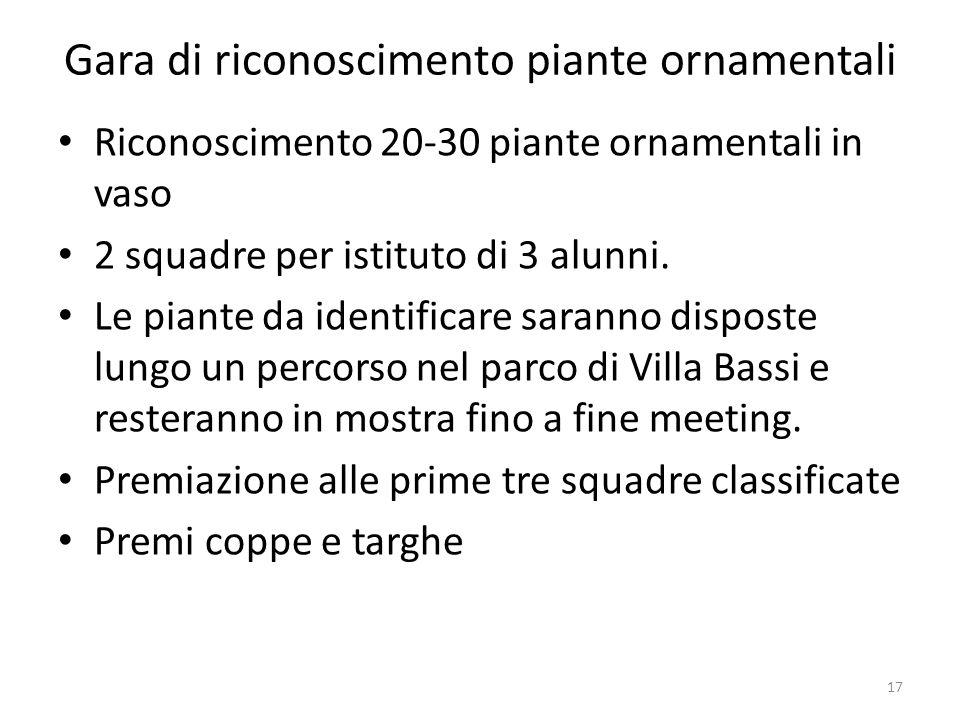 Gara di riconoscimento piante ornamentali Riconoscimento 20-30 piante ornamentali in vaso 2 squadre per istituto di 3 alunni. Le piante da identificar