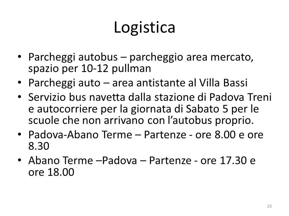 Logistica Parcheggi autobus – parcheggio area mercato, spazio per 10-12 pullman Parcheggi auto – area antistante al Villa Bassi Servizio bus navetta d