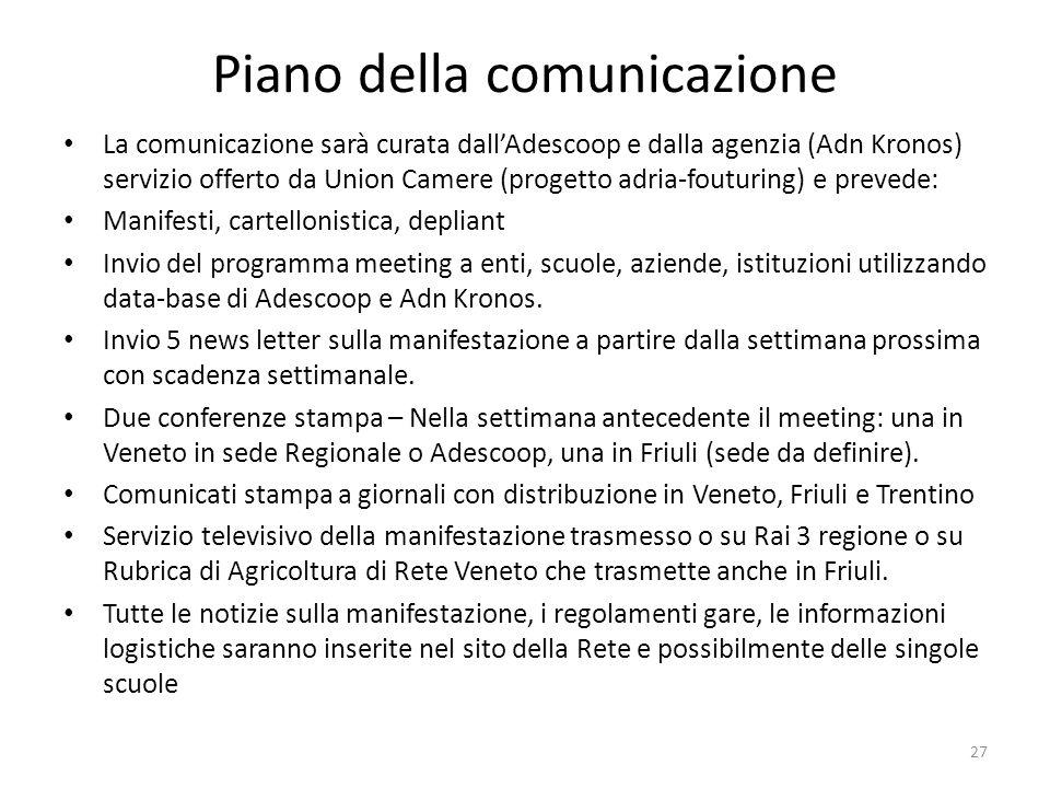 Piano della comunicazione La comunicazione sarà curata dallAdescoop e dalla agenzia (Adn Kronos) servizio offerto da Union Camere (progetto adria-fout