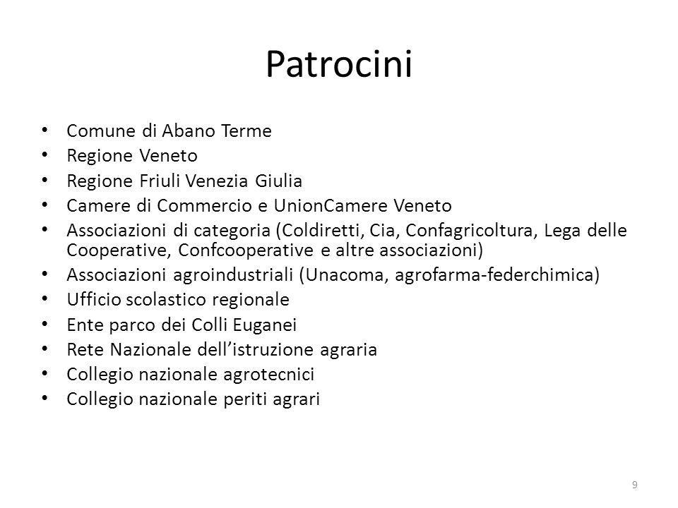 Patrocini Comune di Abano Terme Regione Veneto Regione Friuli Venezia Giulia Camere di Commercio e UnionCamere Veneto Associazioni di categoria (Coldi