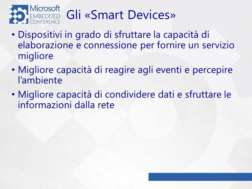 Gli «Smart Devices» Dispositivi in grado di sfruttare la capacità di elaborazione e connessione per fornire un servizio migliore Migliore capacità di reagire agli eventi e percepire lambiente Migliore capacità di condividere dati e sfruttare le informazioni dalla rete