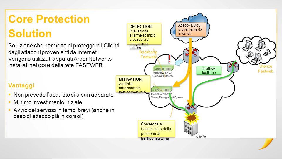 MITIGATION: Analisi e rimozione del traffico malevolo Traffico legittimo Attacco DDoS proveniente da Internet.