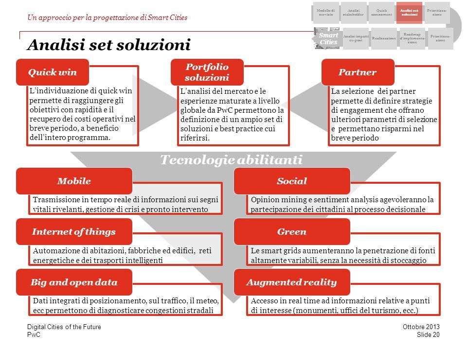 PwC Analisi set soluzioni Lanalisi del mercato e le esperienze maturate a livello globale da PwC permettono la definizione di un ampio set di soluzion