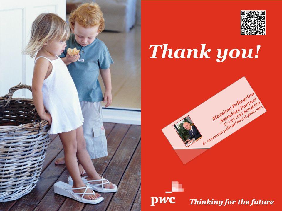 PwC Thank you! Thinking for the future Massimo Pellegrino Associate Partner T: +39 (02) 80646610 E: massimo.pellegrino@it.pwc.com