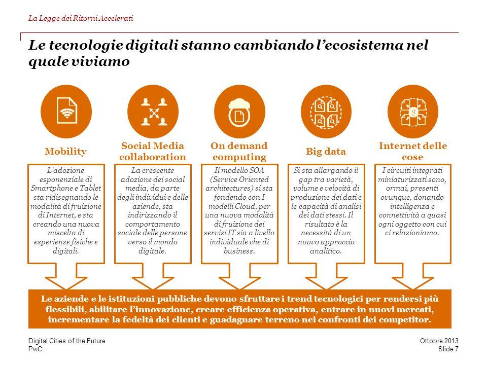 PwC Le tecnologie digitali stanno cambiando lecosistema nel quale viviamo Le aziende e le istituzioni pubbliche devono sfruttare i trend tecnologici p