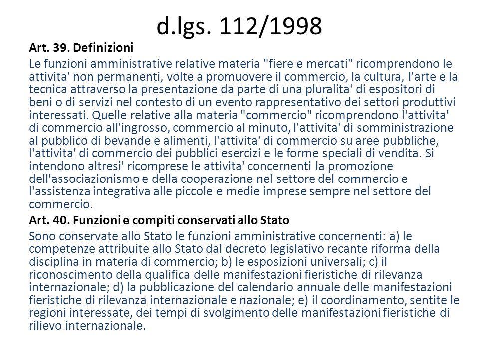 d.lgs. 112/1998 Art. 39.