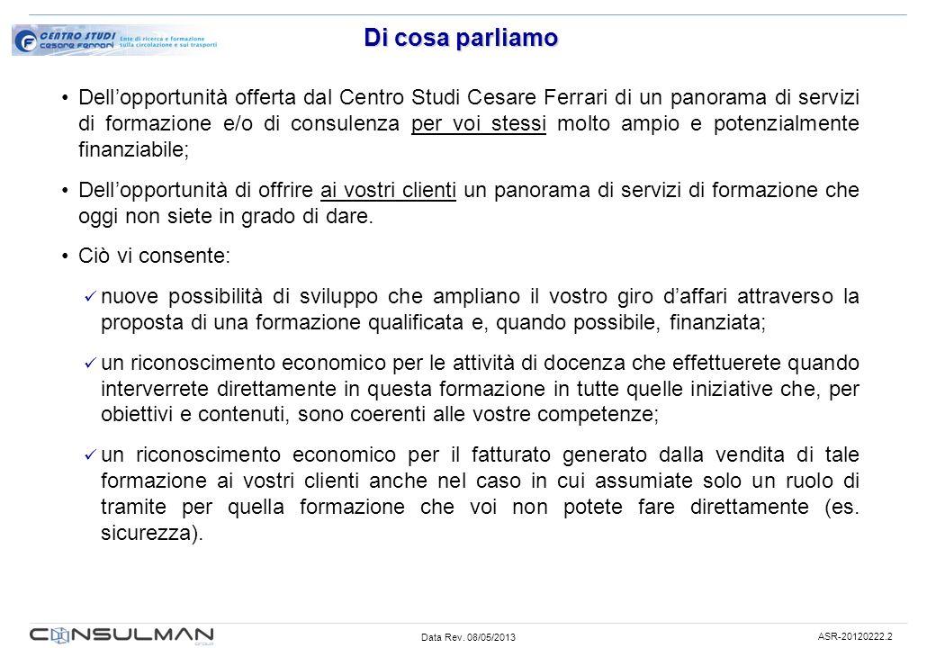 Data Rev. 08/05/2013 ASR-20120222.2 Di cosa parliamo Dellopportunità offerta dal Centro Studi Cesare Ferrari di un panorama di servizi di formazione e