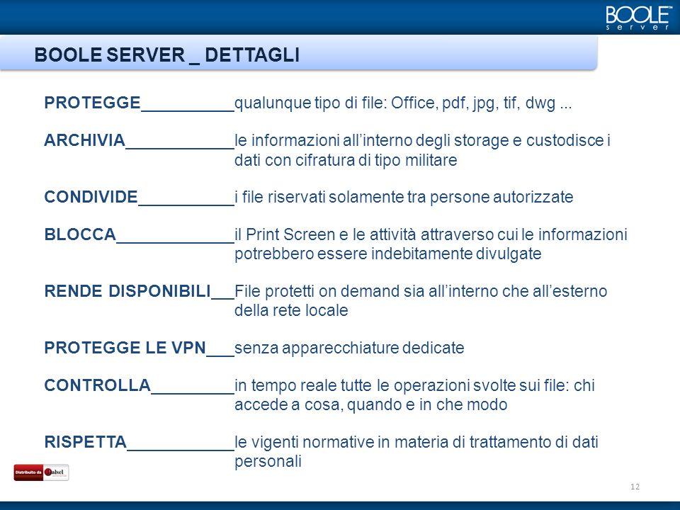 BOOLE SERVER _ DETTAGLI 12 PROTEGGE qualunque tipo di file: Office, pdf, jpg, tif, dwg... ARCHIVIA le informazioni allinterno degli storage e custodis