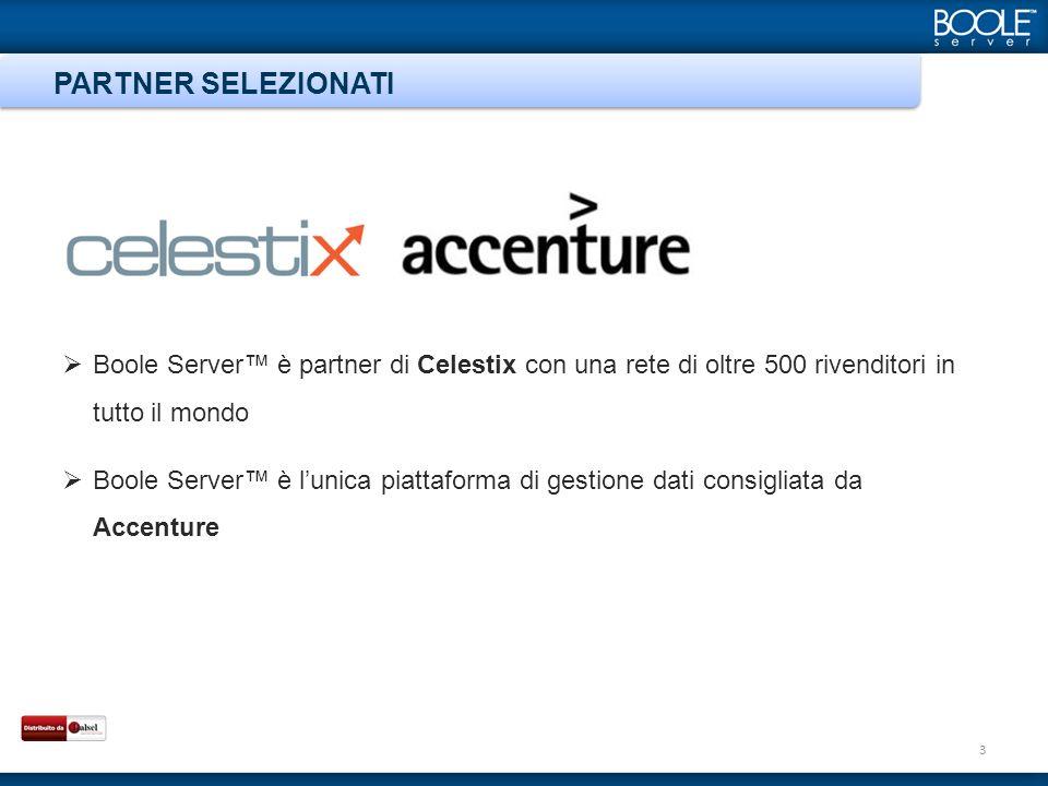 Boole Server è partner di Celestix con una rete di oltre 500 rivenditori in tutto il mondo Boole Server è lunica piattaforma di gestione dati consigliata da Accenture PARTNER SELEZIONATI 3