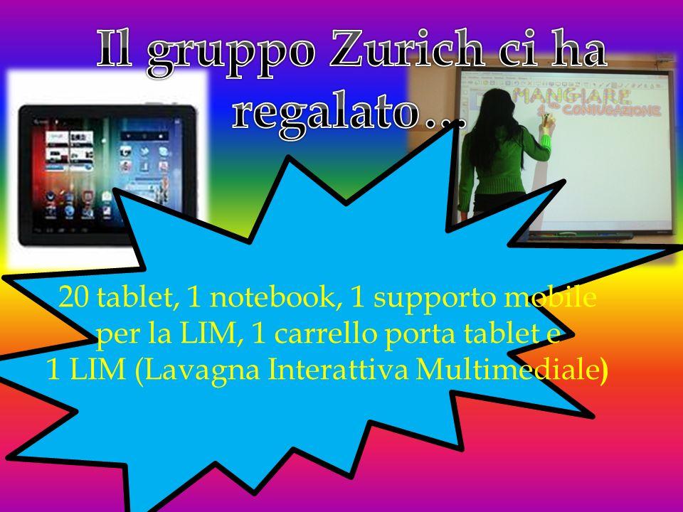 20 tablet, 1 notebook, 1 supporto mobile per la LIM, 1 carrello porta tablet e 1 LIM (Lavagna Interattiva Multimediale )