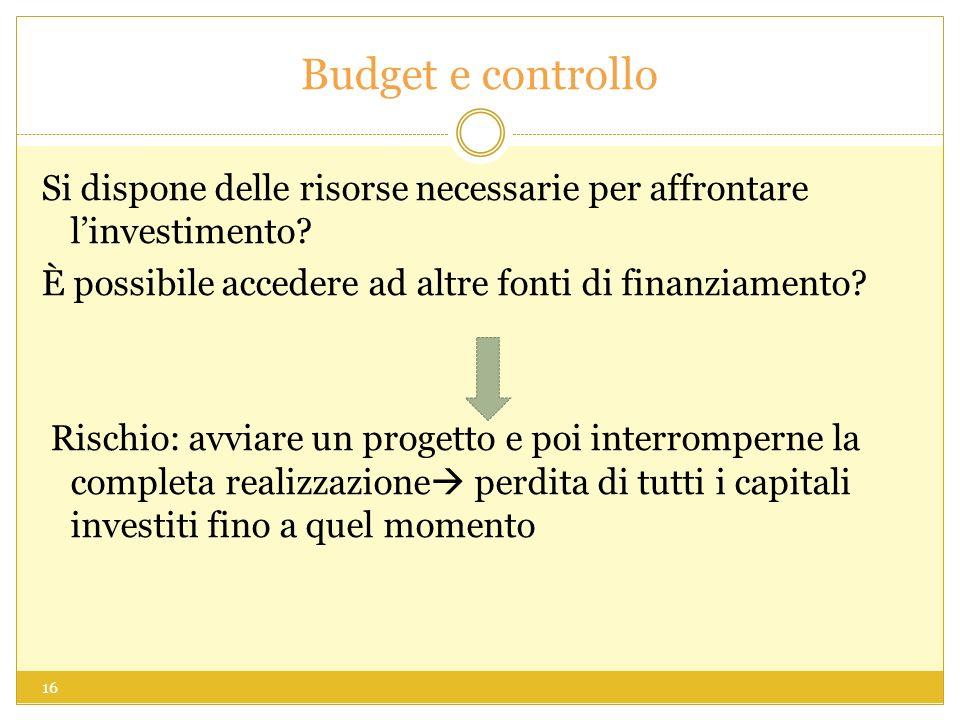 Budget e controllo Si dispone delle risorse necessarie per affrontare linvestimento? È possibile accedere ad altre fonti di finanziamento? Rischio: av