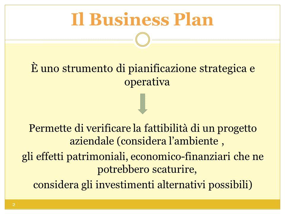 Il Business Plan È uno strumento di pianificazione strategica e operativa Permette di verificare la fattibilità di un progetto aziendale (considera lambiente, gli effetti patrimoniali, economico-finanziari che ne potrebbero scaturire, considera gli investimenti alternativi possibili) 2