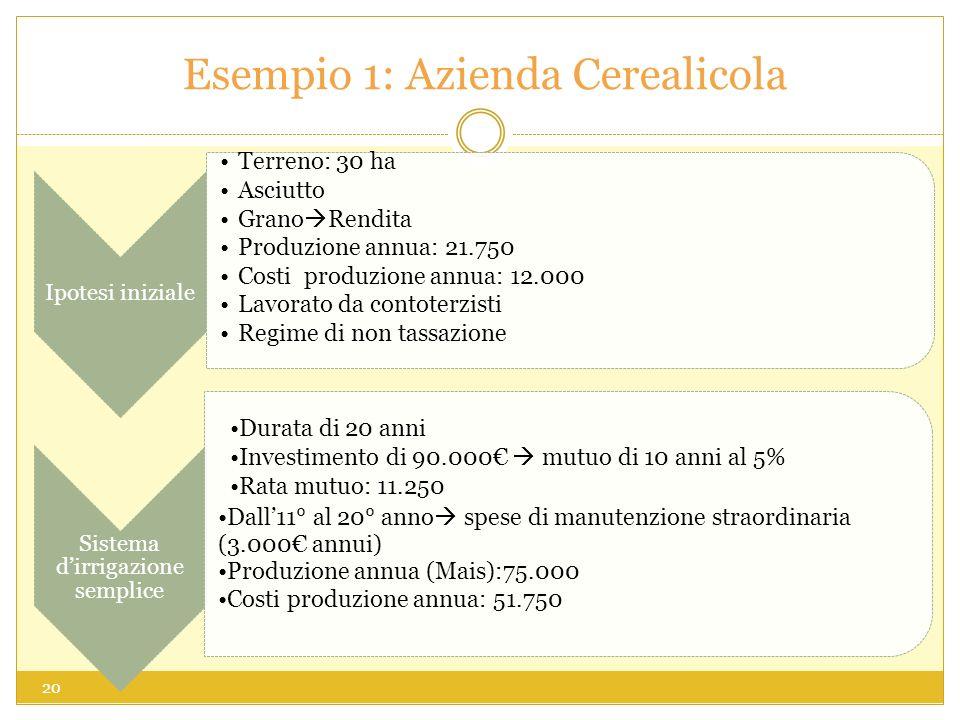 Esempio 1: Azienda Cerealicola 20 Ipotesi iniziale Terreno: 30 ha Asciutto Grano Rendita Produzione annua: 21.750 Costi produzione annua: 12.000 Lavorato da contoterzisti Regime di non tassazione Sistema dirrigazione semplice Durata di 20 anni Investimento di 90.000 mutuo di 10 anni al 5% Rata mutuo: 11.250 Dall11° al 20° anno spese di manutenzione straordinaria (3.000 annui) Produzione annua (Mais):75.000 Costi produzione annua: 51.750
