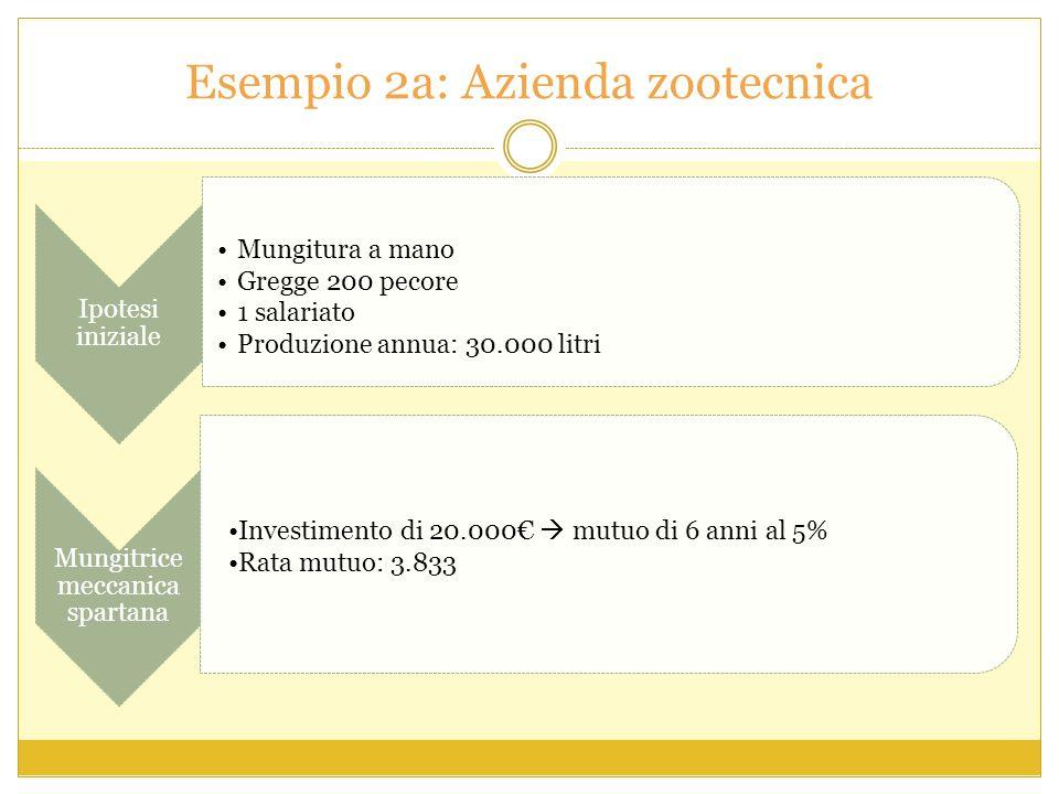 Esempio 2a: Azienda zootecnica Ipotesi iniziale Mungitura a mano Gregge 200 pecore 1 salariato Produzione annua: 30.000 litri Mungitrice meccanica spartana Investimento di 20.000 mutuo di 6 anni al 5% Rata mutuo: 3.833