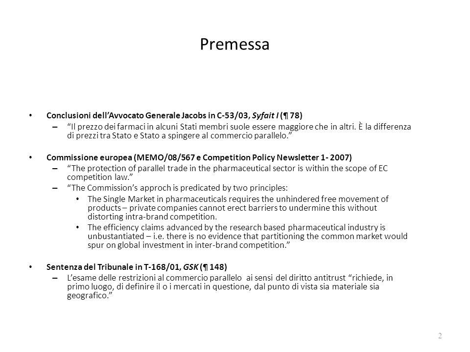 Mercato materiale Sentenza del Tribunale in T-321/05, AstraZeneca (¶ 154) – Lanalisi inizia di solito dal terzo livello dellATC [Anatomical Therapeutic Chemical Classification System].