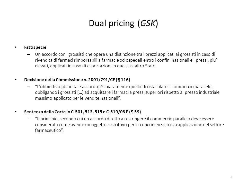 Dual pricing (GSK) Fattispecie – Un accordo con i grossisti che opera una distinzione tra i prezzi applicati ai grossisti in caso di rivendita di farm