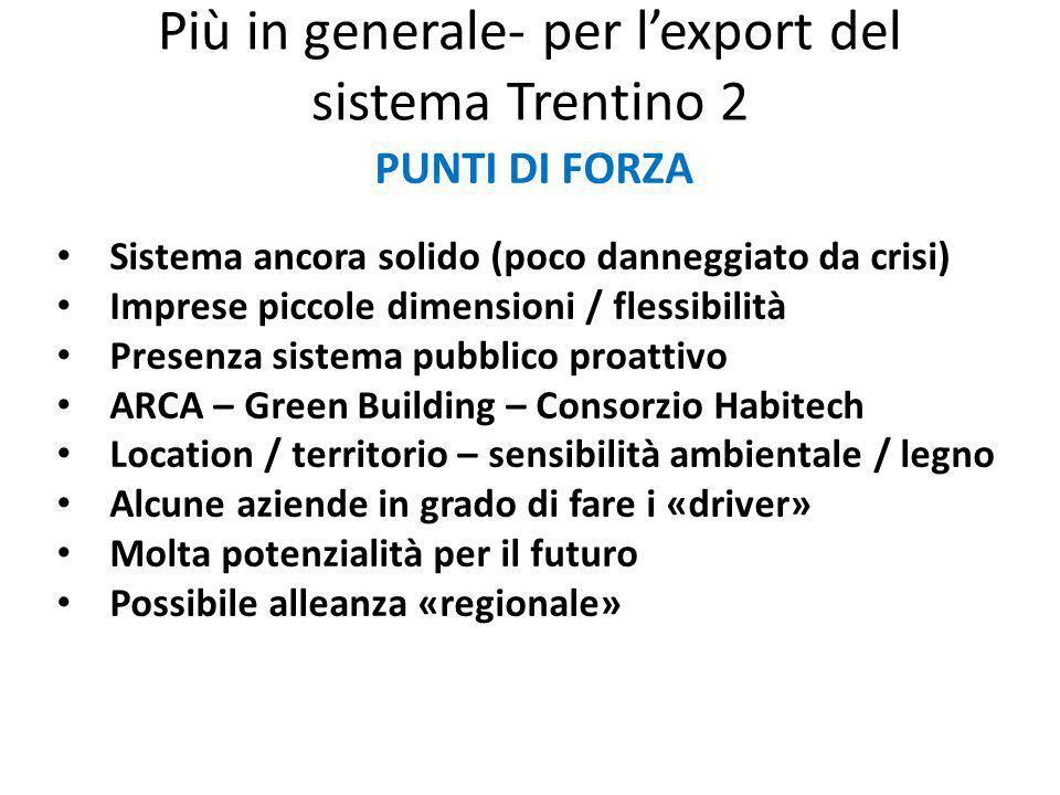 Più in generale- per lexport del sistema Trentino 2 PUNTI DI FORZA Sistema ancora solido (poco danneggiato da crisi) Imprese piccole dimensioni / fles