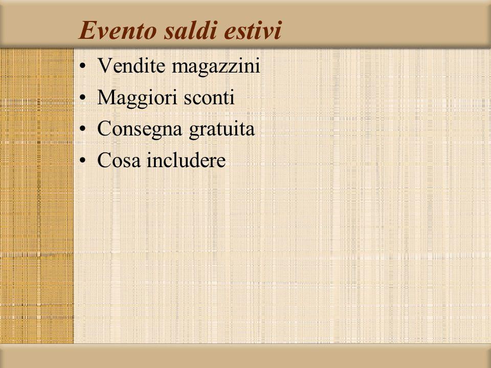 Evento saldi estivi Vendite magazzini Maggiori sconti Consegna gratuita Cosa includere