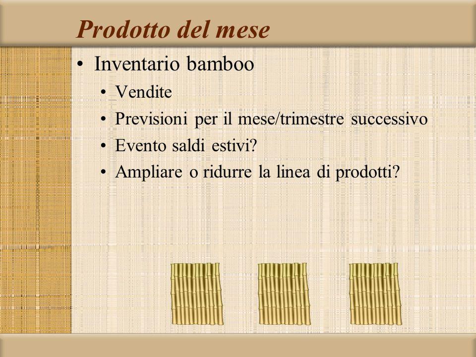 Prodotto del mese Inventario bamboo Vendite Previsioni per il mese/trimestre successivo Evento saldi estivi? Ampliare o ridurre la linea di prodotti?