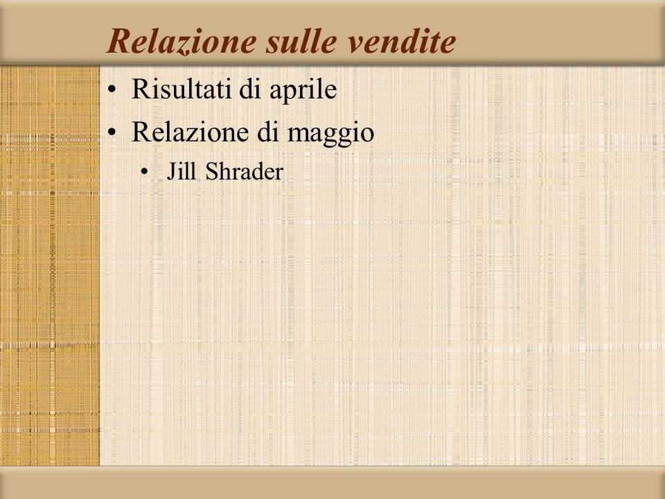 Relazione sulle vendite Risultati di aprile Relazione di maggio Jill Shrader