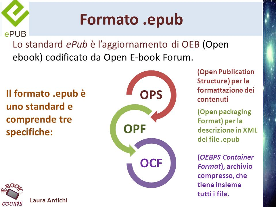 Laura Antichi Formato.epub Lo standard ePub è laggiornamento di OEB (Open ebook) codificato da Open E-book Forum. OPS OPF OCF Il formato.epub è uno st