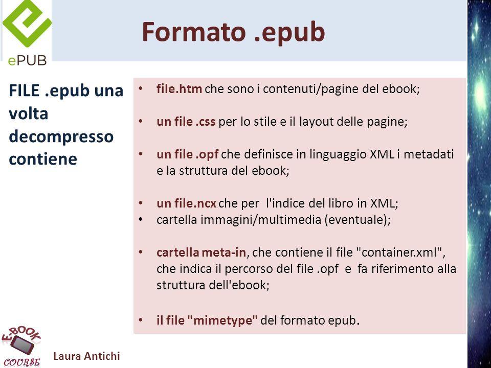 Laura Antichi Formato.epub FILE.epub una volta decompresso contiene file.htm che sono i contenuti/pagine del ebook; un file.css per lo stile e il layo