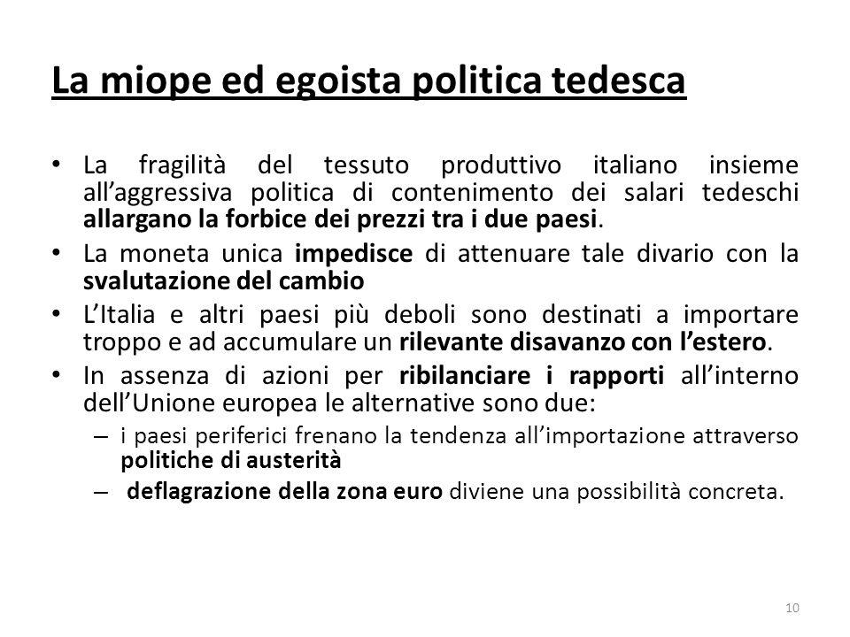 La miope ed egoista politica tedesca La fragilità del tessuto produttivo italiano insieme allaggressiva politica di contenimento dei salari tedeschi allargano la forbice dei prezzi tra i due paesi.