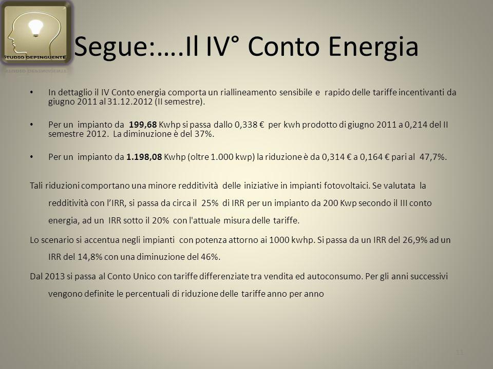 Segue:….Il IV° Conto Energia In dettaglio il IV Conto energia comporta un riallineamento sensibile e rapido delle tariffe incentivanti da giugno 2011 al 31.12.2012 (II semestre).
