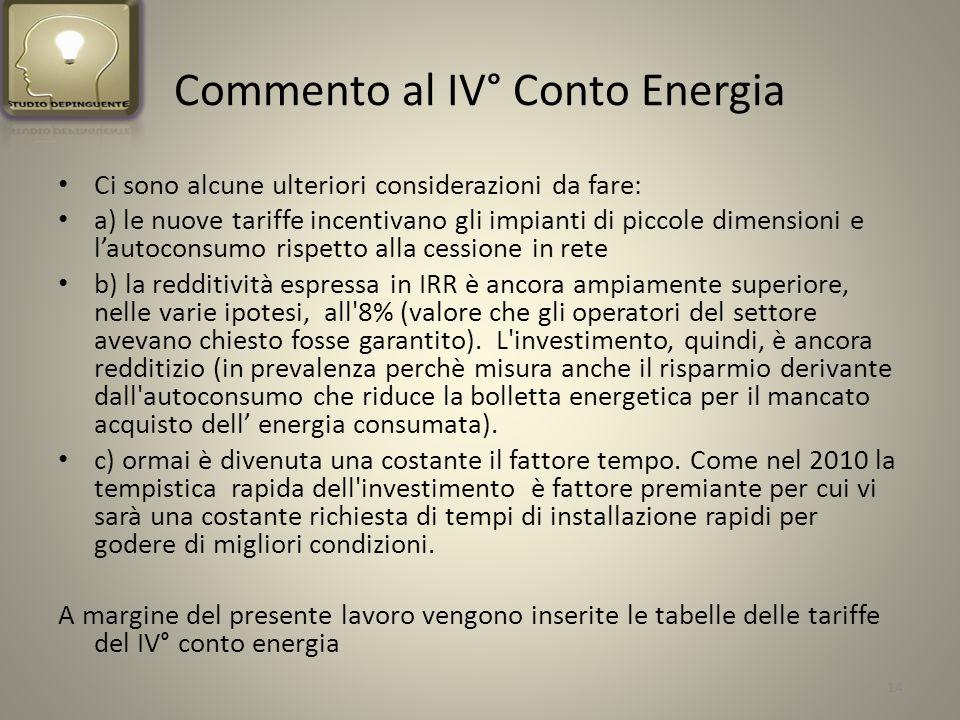 Commento al IV° Conto Energia Ci sono alcune ulteriori considerazioni da fare: a) le nuove tariffe incentivano gli impianti di piccole dimensioni e lautoconsumo rispetto alla cessione in rete b) la redditività espressa in IRR è ancora ampiamente superiore, nelle varie ipotesi, all 8% (valore che gli operatori del settore avevano chiesto fosse garantito).