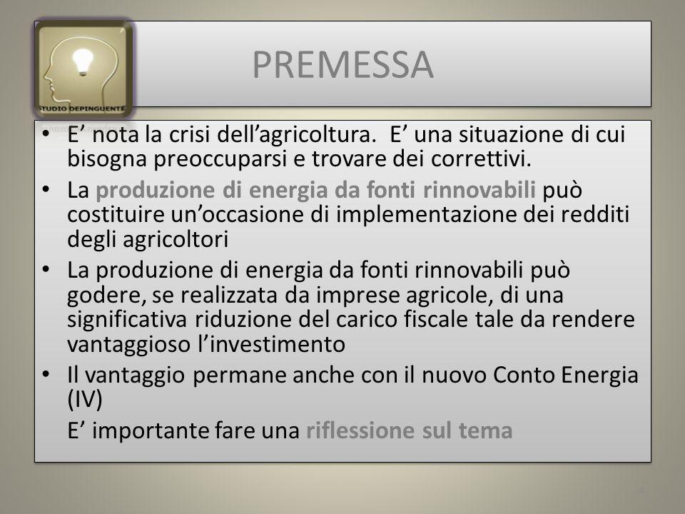 PREMESSA E nota la crisi dellagricoltura.