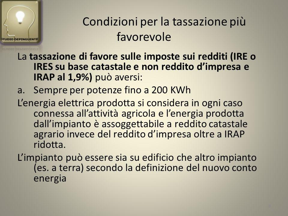 Segue….Condizioni per la tassazione più favorevole B.