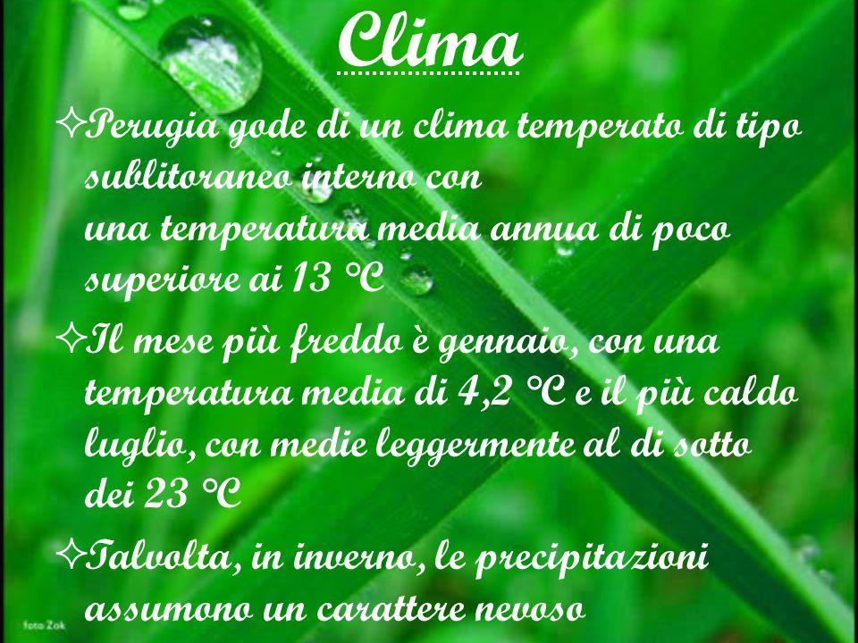 Clima Perugia gode di un clima temperato di tipo sublitoraneo interno con una temperatura media annua di poco superiore ai 13 °C Il mese più freddo è gennaio, con una temperatura media di 4,2 °C e il più caldo luglio, con medie leggermente al di sotto dei 23 °C Talvolta, in inverno, le precipitazioni assumono un carattere nevoso