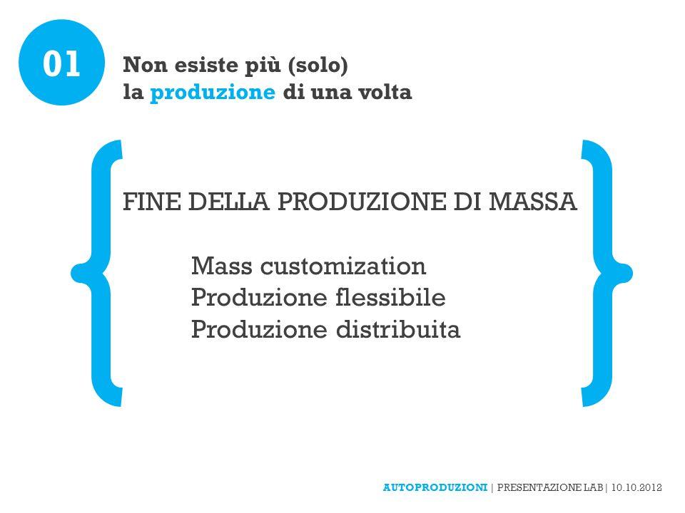Non esiste più (solo) la produzione di una volta FINE DELLA PRODUZIONE DI MASSA Mass customization Produzione flessibile Produzione distribuita 01 AUTOPRODUZIONI | PRESENTAZIONE LAB| 10.10.2012