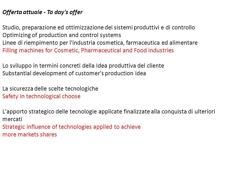 Offerta attuale - To day's offer Studio, preparazione ed ottimizzazione dei sistemi produttivi e di controllo Optimizing of production and control sys