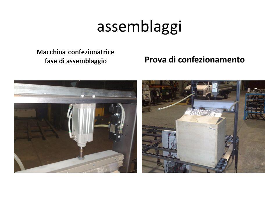 assemblaggi Macchina confezionatrice fase di assemblaggio Prova di confezionamento