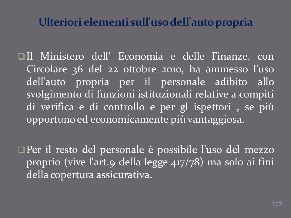 Il Ministero dell' Economia e delle Finanze, con Circolare 36 del 22 ottobre 2010, ha ammesso l'uso dell'auto propria per il personale adibito allo sv