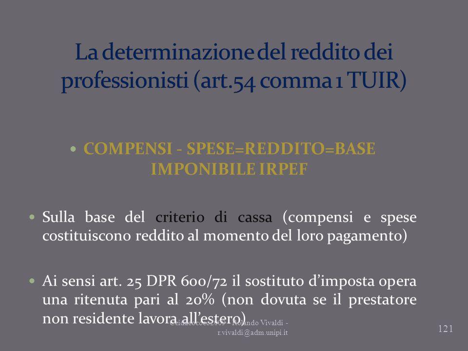 121 COMPENSI - SPESE=REDDITO=BASE IMPONIBILE IRPEF Sulla base del criterio di cassa (compensi e spese costituiscono reddito al momento del loro pagame